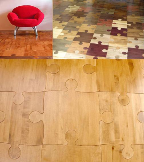 Drveni pod u obliku puzle