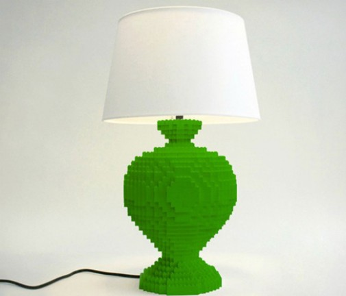 Zelena Lego lampa