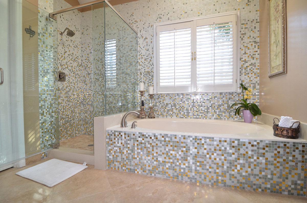 Стеклофотомозаика в ванной фото 10 фотография