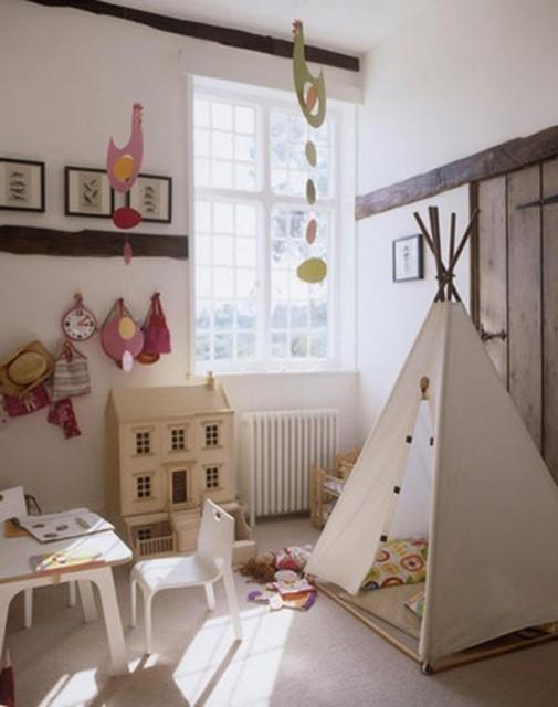 Indijanski šator za igru u dečijoj sobi