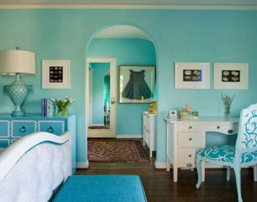 Spavaća soba u tirkiznoj boji