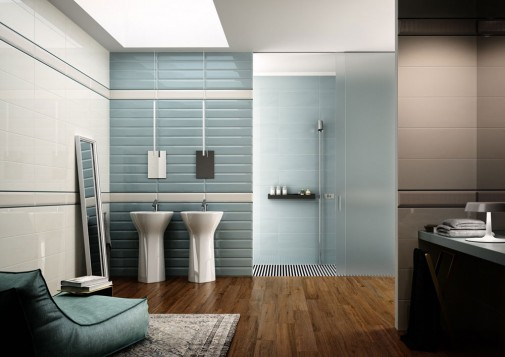 Plavo savremeno kupatilo