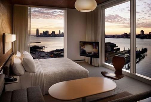 Spavaća soba sa pogledom na Njujork