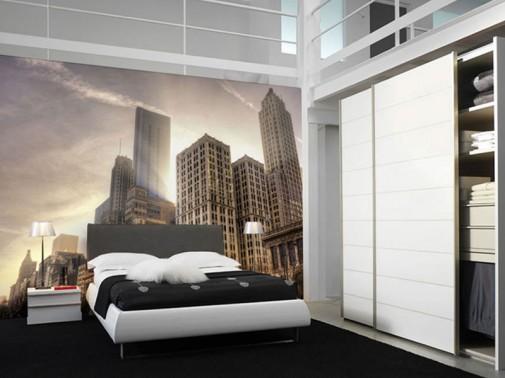 Crno-beli mural sa motivom Čikaga