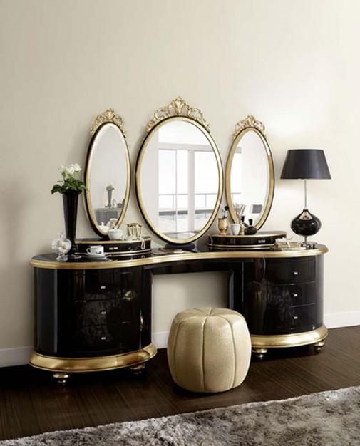Romantični toaletni stočić Venezija  u crnoj boji