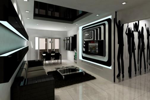 Savremene crno-bele dnevne sobe slika3