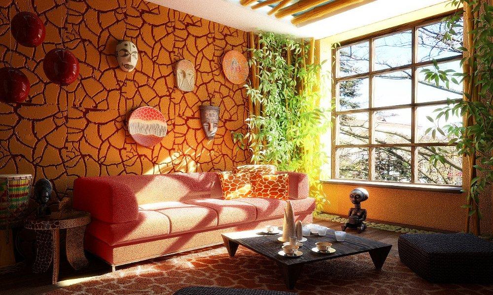 Dnevna soba u stilu Afrike