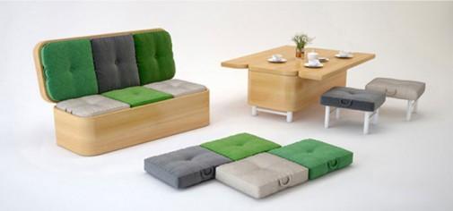 Sofa koja se transformiše u mali sto za ručavanje slika2
