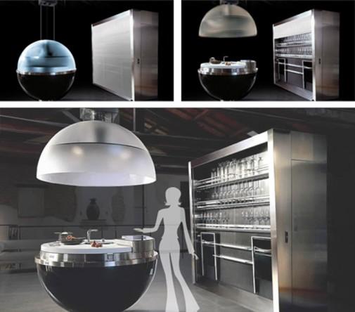 Modularno kuhinjsko ostrvo u obliku sfere slika2