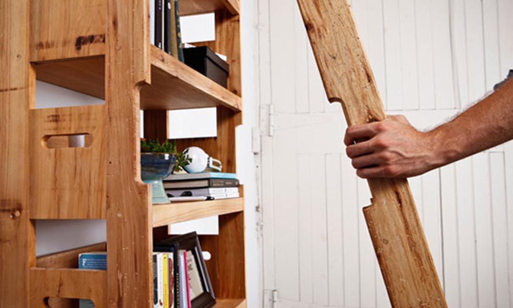 Polica za knjige sa merdevinama