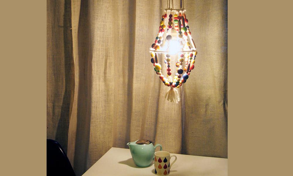 Napravite sami lampu od drvenih perli