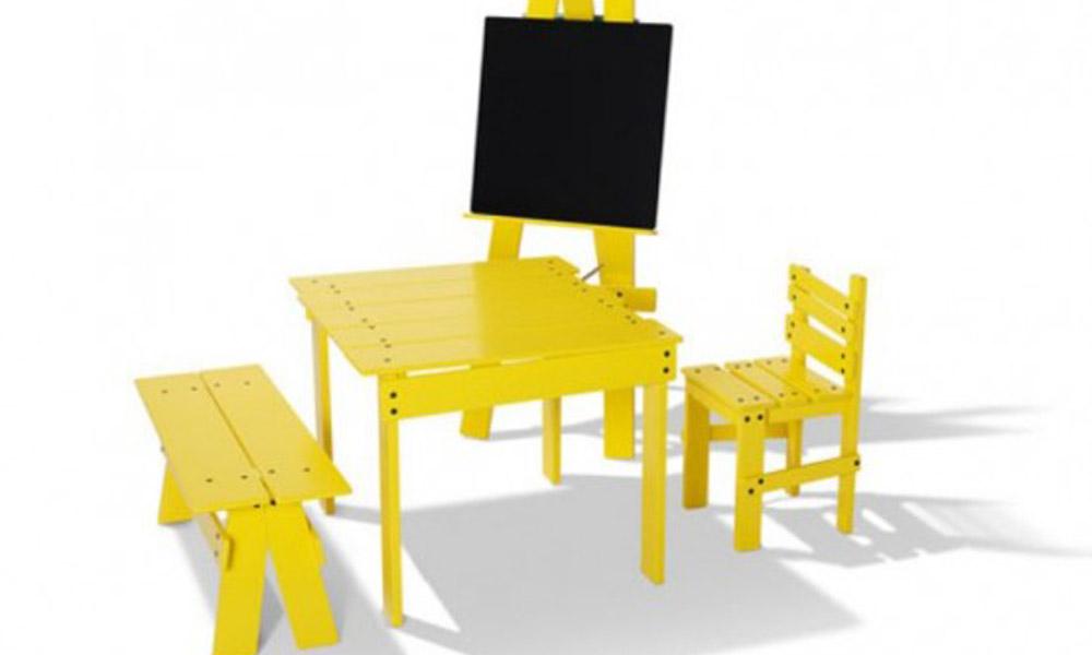 Zabavan žuti dečiji nameštaj