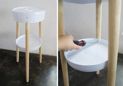 Napravite stočić od plastičnih kanti za farbu i šperploče