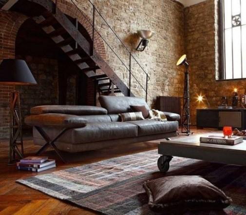 Dnevna soba u industrijskom stilu