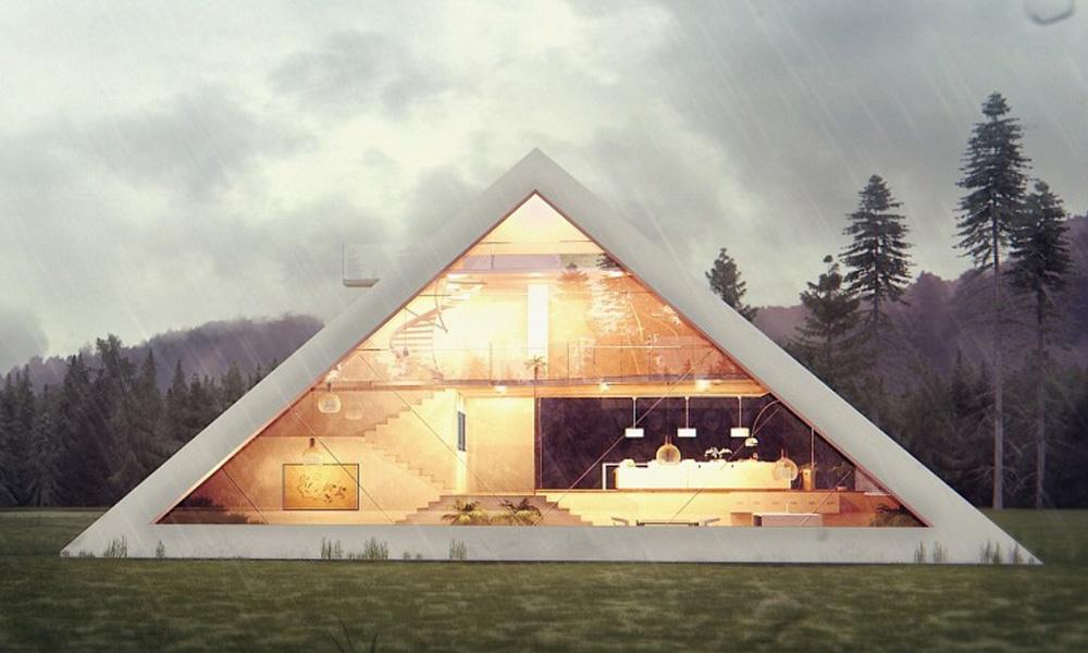 Neverovatna moderna kuća u obliku piramide