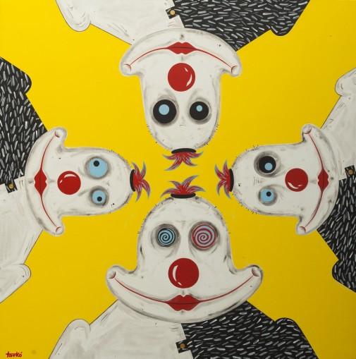 Klovnovi u nama 100x100cm, akril na platnu, 2015