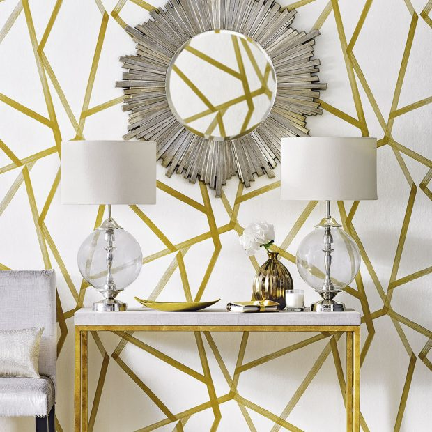 Luxe-gold-and-white-hallway-Dominic-Blackmore-620x620