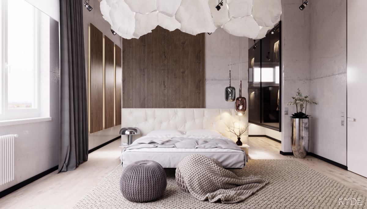 bedroom-accent-walls-headboard-light-fixture