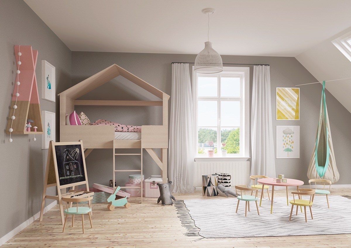 cute-kids-bedroom-with-treehouse-bed