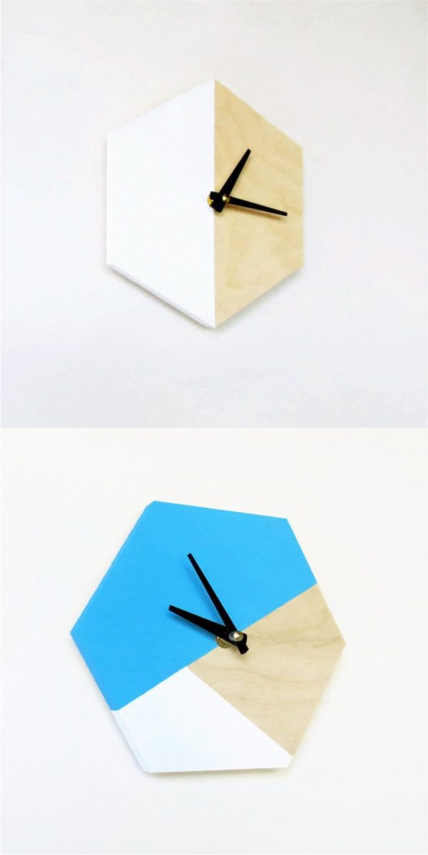 hexagon-painted-decorative-wooden-wall-clocks-600x1197